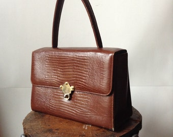 Vintage Brown Moc Croc Leather Box Handbag