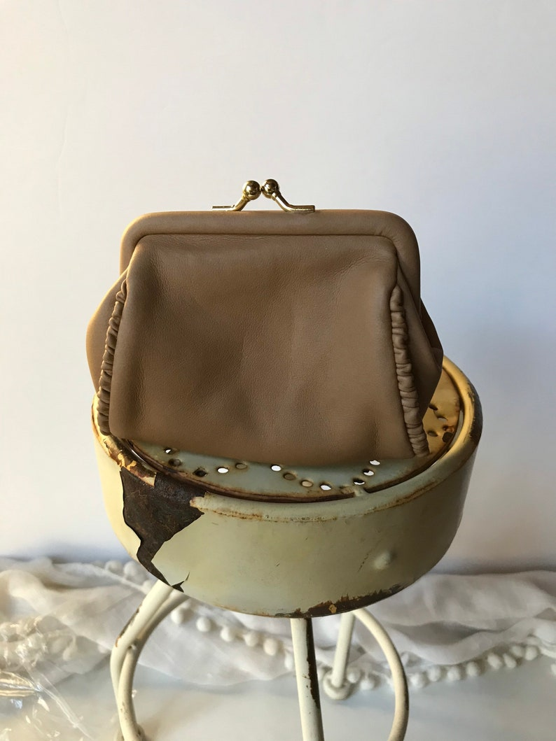 Vintage Leather Coin Purse  Taupe Coin Purse  1980s 1990s