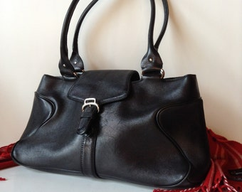 Cole Haan Alexa  Black Leather East/West Satchel/Shoulder Bag
