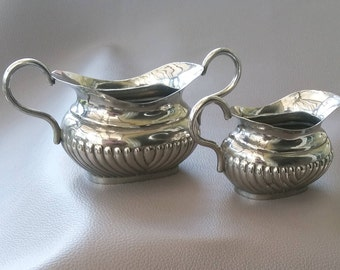 EPNS set of Milk jug and Sugar bowl in classic style