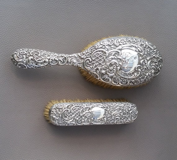 Antique Vanity Set 2 Piece Hallmarked Sterling Silver With Etsy