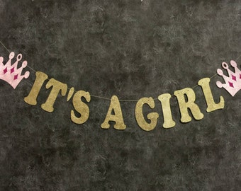 It's A Girl Banner, baby girl banner, baby girl shower decorations, baby shower decorations, girl baby shower, baby girl shower