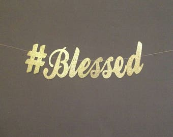 Hashtag Blessed Thankful Fall Banner Give Thanks Birthday Thanksgiving Decorations
