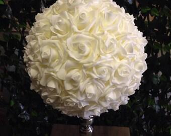 Foam kissing balls etsy foam rose kissing ball 12 inch ivory foam rose flower ball wedding table centerpieces pomander foam roses real feel foam rose ball mightylinksfo