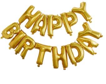 Gold Happy Birthday Balloon Banner Letter Balloons Foil Mylar