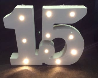 GENUINE /'UP IN LIGHTS/' Light Up Number 40 The Original White Light Up Numbers