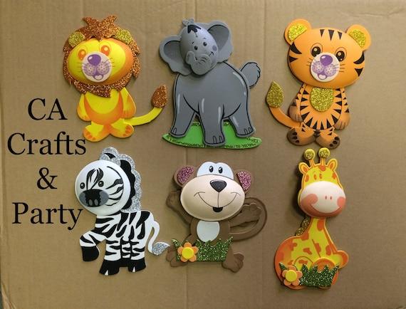 Jumbo Safari Animal Foam decorations 7 to 9 inch Jungle   Etsy