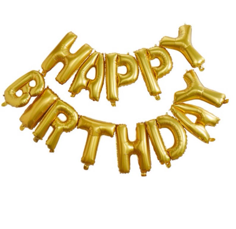 Gold Happy Birthday Balloon Banner Letter