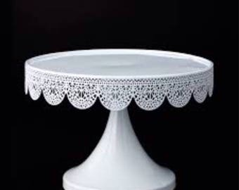 White metal eyelet cake stand - Treat Pedestal cake stand- 9x6 inch metal cake stand - cupcake stand - dessert stand -treat stand