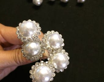 18 Bouquet Corsage Pin 12mm pearl with rhinestones - wedding bouquet floral corsage pin- pearl and rhinestone corsage pin- boutonnière #4862