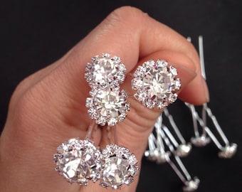 Set of 12 Crystal hair bobby pins- Diamond bobby pin- Wedding hair pins- Wedding accessories- fancy bobby pins- Bridal bobby pins.