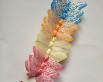 12 Feather-like Glitter Butterflies pastel colors 3inch- Artificial Feather butterflies- butterfly scrapbooking- Pastel butterflies #3714