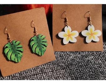 Wooden palm leaves earrings- wooden plumeria earrings - artistic painted charm earrings- Dangle Bohemian earrings accessories.