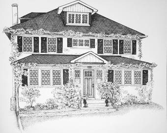 Custom One of a Kind Pen and Ink House Portrait 10x12