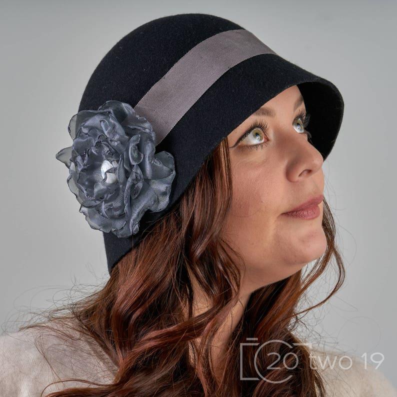 900ac8f1d4a03 Zelda Black Cloche Hat Ladies Beautiful Handmade 100% Wool