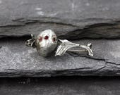 Sterling Silver Modernist Poppy Pod Brooch with Ruby Glass Stones