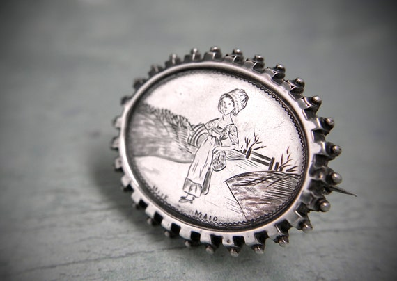 Victorian Silver Picture Brooch of Milkmaid, Engli