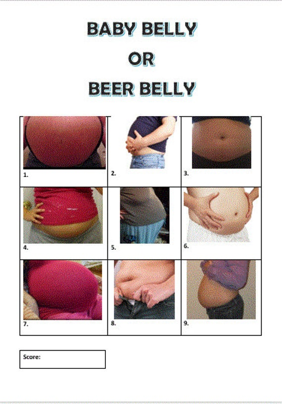Baby Shower Game Baby Belly Or Beer Belly Game Etsy