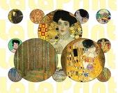25 Klimt Gustav Digital Party Stickers Circles size 1 39 39 , 20mm, 16mm, 14mm, 12mm sheet A4 (8.5 39 39 x11 39 39 ) Bottle Cap images earrings Modern