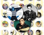 30 Elvis Presley Digital Party Stickers Circles size 1 quot and 2 quot sheet A4 (8.5 39 39 x11 39 39 ) Bottle Cap images Cupcake Toppers