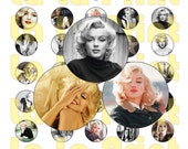 40 Marilyn Monroe Digital Party Stickers Circles size 1 quot sheet A4 (8.5 39 39 x11 39 39 ) Bottle Cap images Cupcake Toppers