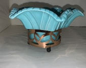 Vintage 1956 Miramar of California Ribbon Blue Planter with Metal Stand 611