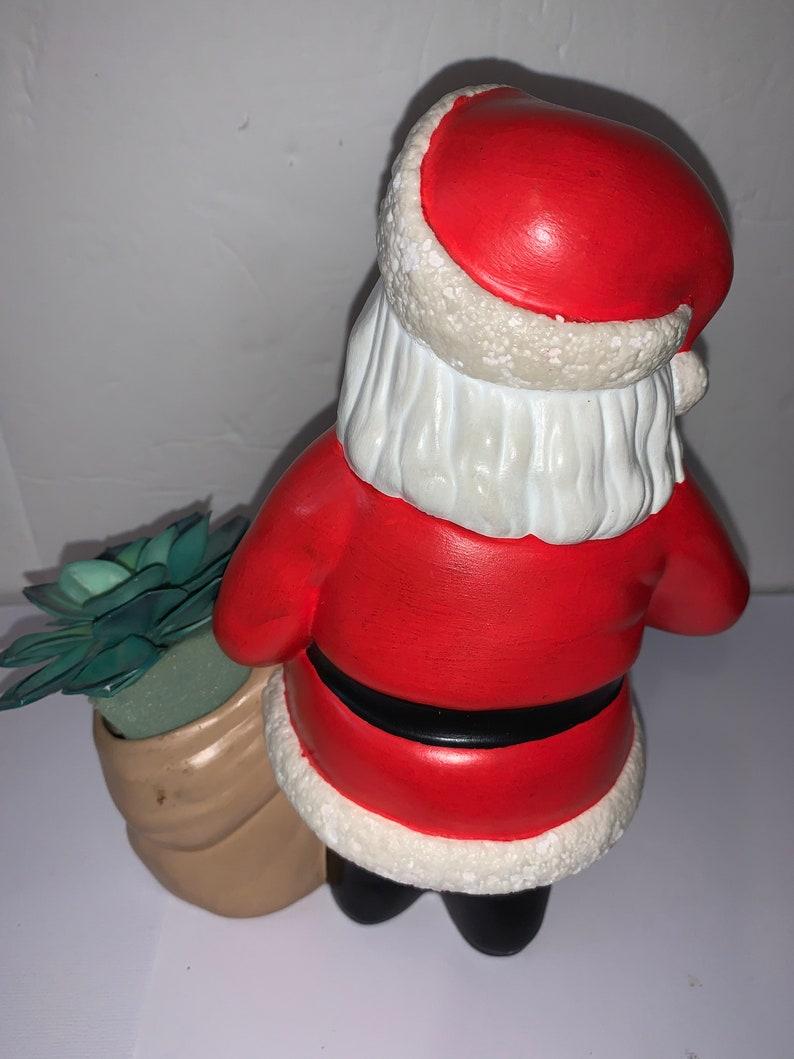 Vintage 1971 Ceramic Santa Planter Candy Cane Holder Christmas Decor Holiday