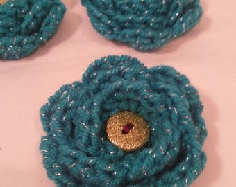Turquoise and sparkle flower hair clip with lime glitter button