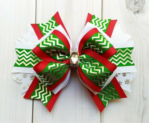 Christmas Hair Bow/Christmas Hair Clip/Elf Color Themed