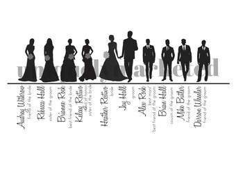 Items Similar To 69 Wedding Party Silhouettes Wedding Bride