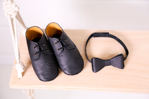 Baby Shoes Boy Black Leather Wingtip