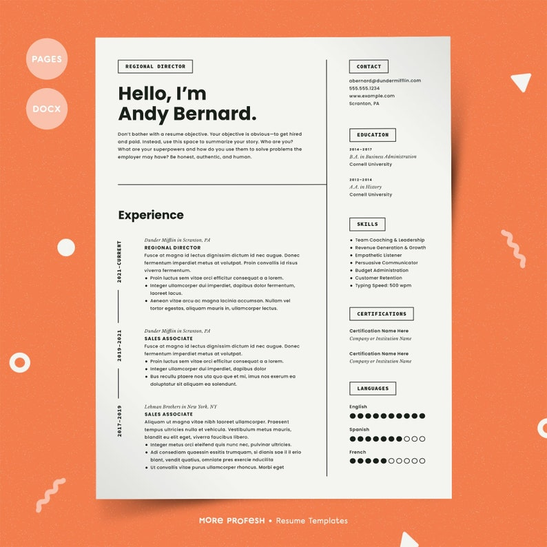 Resume for Mac Pages Resume Resume for Pages CV Template | Etsy