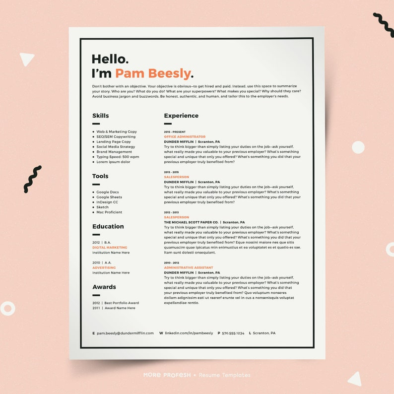 Modern Resume Template Resume for Mac Resume for Pages | Etsy