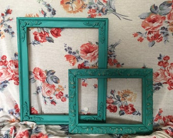Turquoise picture frames, vintage picture frames, shabby shic picture frames, ornate picture frames, distressed, wood picture frames