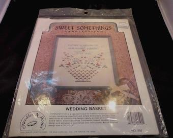 Sweet Somethings Candlestitch Wedding Basket, NIP