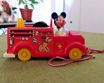 Vintage Walt Disney Mickey Mouse Pull Fire Truck