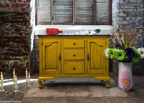 Hand painted Solid wood  Sideboard ,Annie Sloan,Tilton English Yellow Arles custom mix