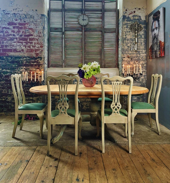 Solid pine six seater double extending  table and chairs, hand painted, farmhouse ,French inspired