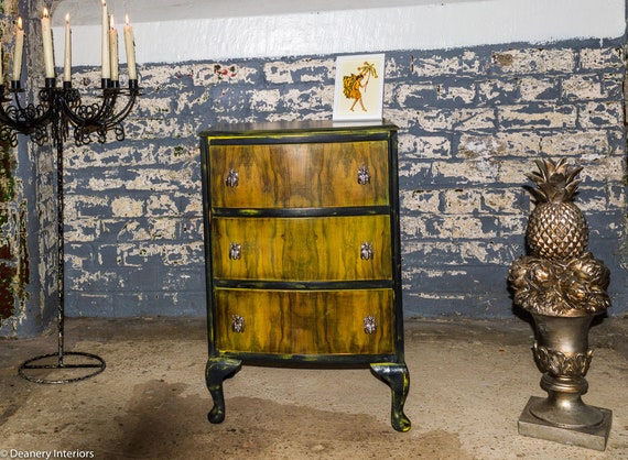 Hand painted Three draw Table/Hall table ,Annie sloan bee style