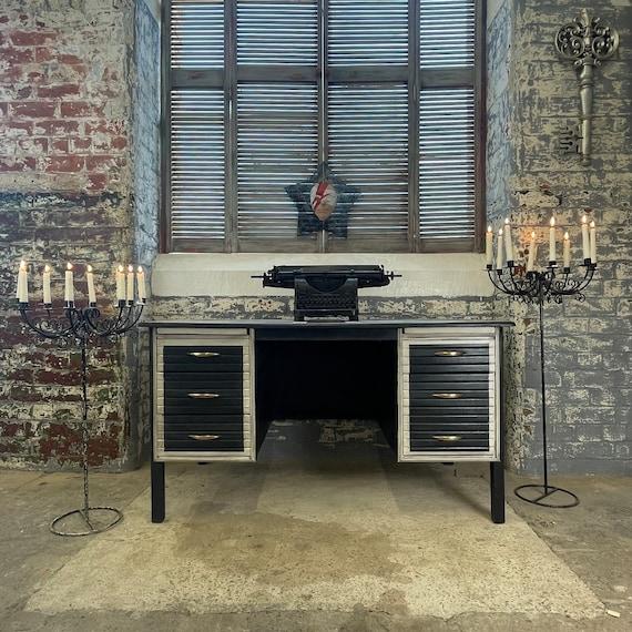 Antique Vintage Early / Mid Century 'Abbess' Oak Twin Pedestal Office Desk,hand painted Union jack,Office