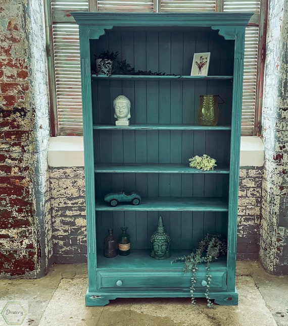 Bookcase solid pine hand painted Annie Sloan chalk paint