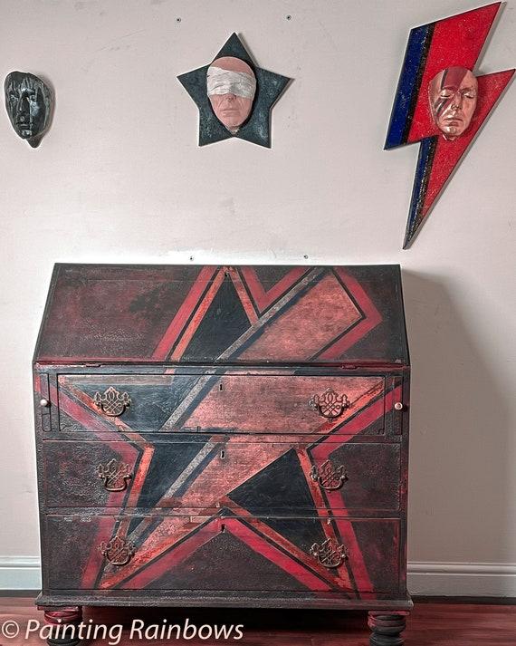 Bureau ,Desk , Hand painted , David Bowie Inspired, Original Art Work
