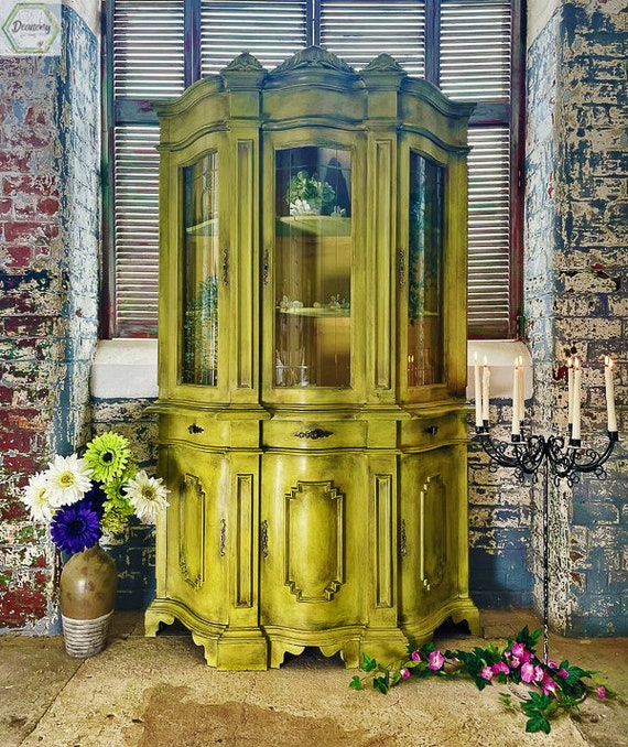 Glass front dresser, french style ,cabinet drinks cabinet ,hand painted