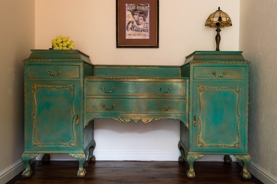 sideboard, drinks cabinet, ball and claw foot, chippendale, furniture , hand painted, beautifully heavy carved & solid mahogany