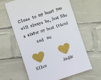 Best Friends Card Bestfriend Birthday Greeting Special Friend Cards Bestie Personalised Friendship