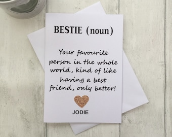 Bestie Card Best Friend Birthday Personalised Bestfriend Friends