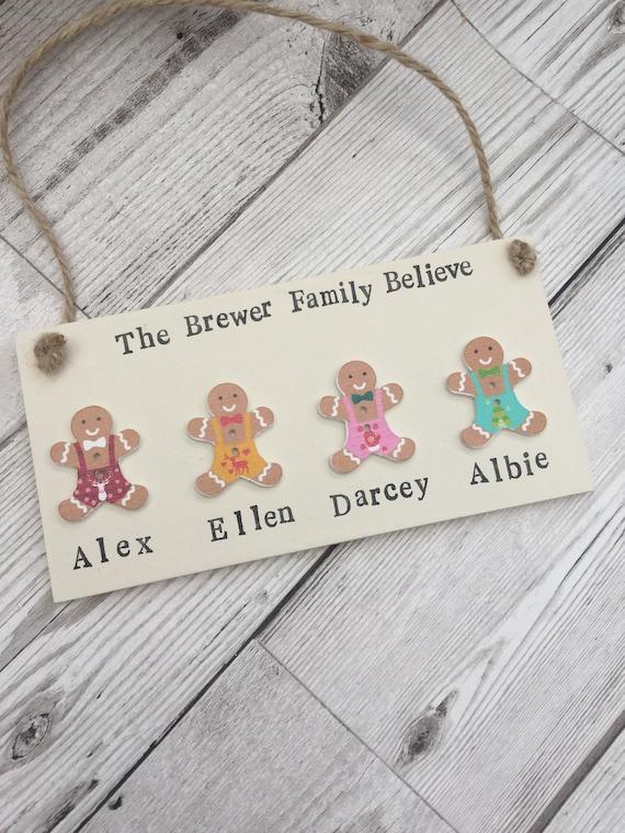 Noël personnalisé signe, Noël famille signe, Believe, famille, famille à Noël, décoration de Noël, décorations de Noël, signe