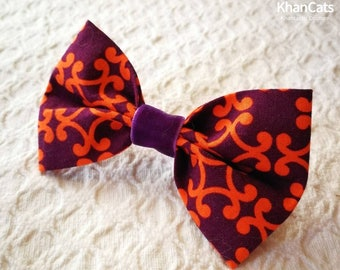 """Cat Bow Tie Bowtie for Cats and Dogs """"Meows from 1001 Nights"""" Plum with Orange"""
