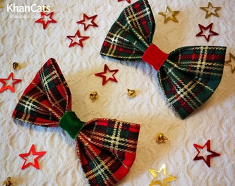 """Christmas Cat Bow Tie Bowtie for Cats and Dogs """"Rowan Trees and Mistletoe"""" Red or Green"""