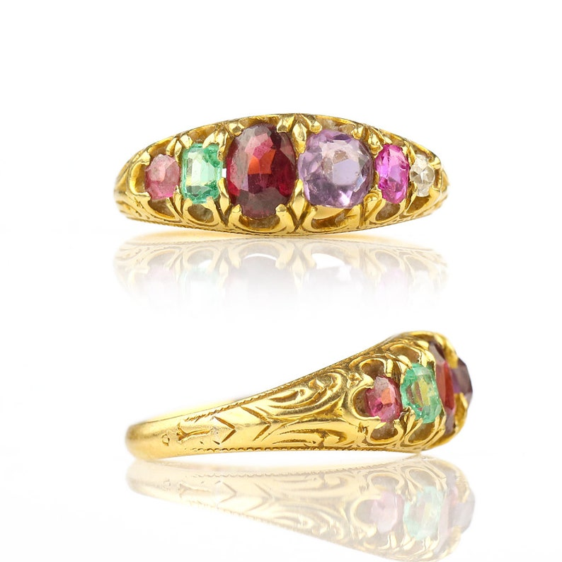 REGARD Acrostic Ring  Antique Victorian Ring Ruby Emerald image 0